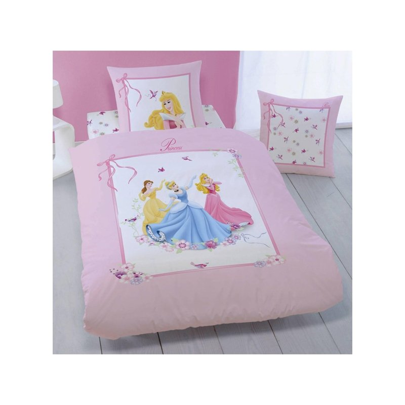 linge de maison disney princesse parure de lit 1 personne coton 140x200 rose enfant. Black Bedroom Furniture Sets. Home Design Ideas