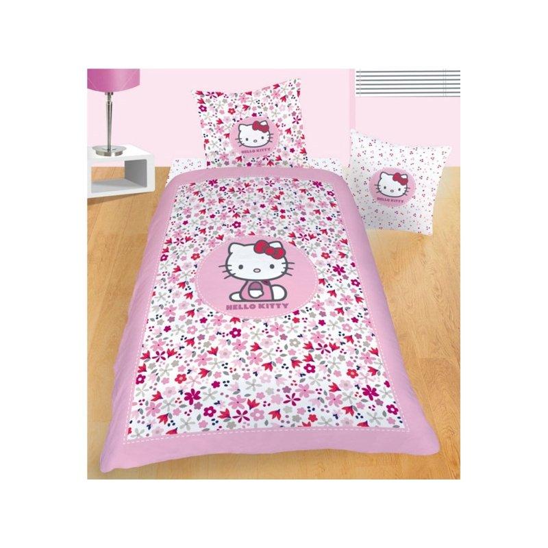 linge de lit hello kitty flora parure de couette 1 personne rose 140x200 fille. Black Bedroom Furniture Sets. Home Design Ideas