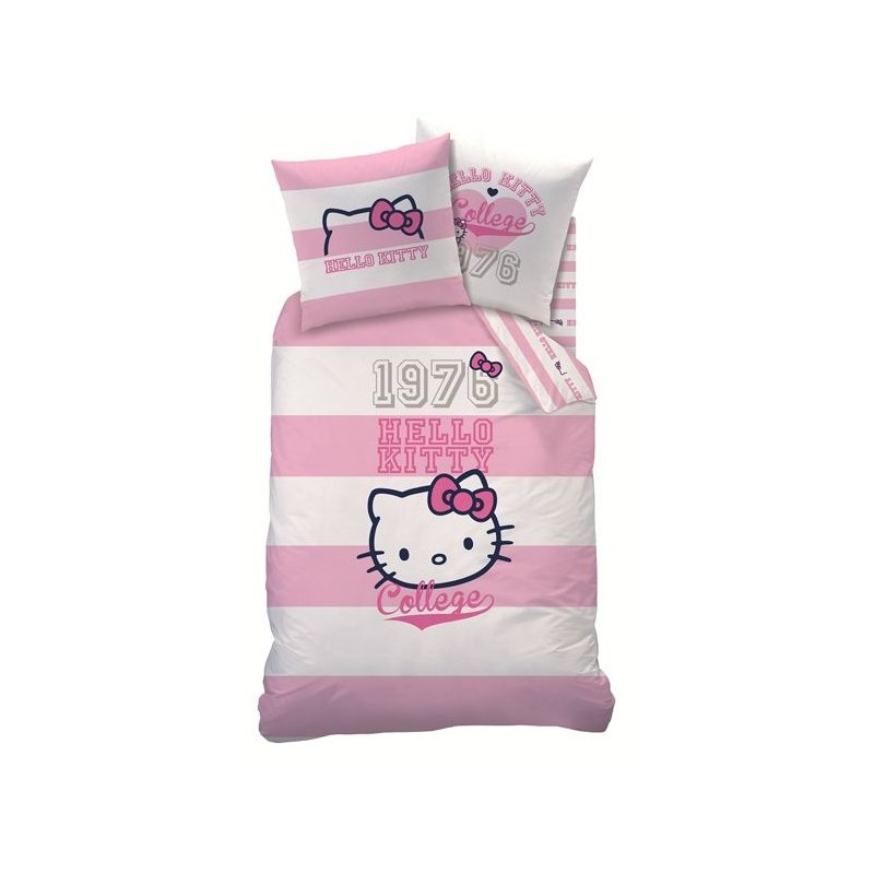 Couette hello kitty 140x200 college britanny - Parure de lit hello kitty 1 personne ...