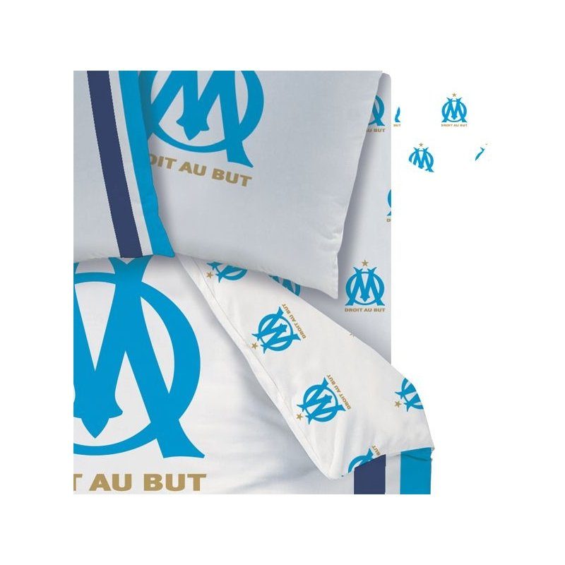 drap housse olympique de marseille om pour lit 1 personne 90x190. Black Bedroom Furniture Sets. Home Design Ideas