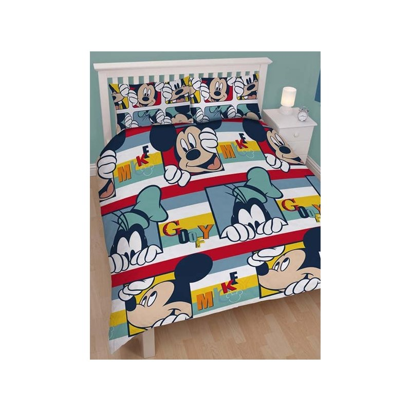parure de lit mickey pour 2 personnes couette double. Black Bedroom Furniture Sets. Home Design Ideas