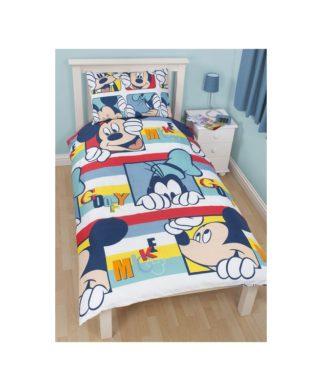 Parure de lit réversible Mickey et Dingo pour lit 1 personne