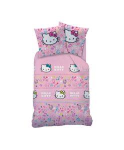 """Parure de lit Hello Kitty """"Lucie"""" 1 personne 140x200 cm"""