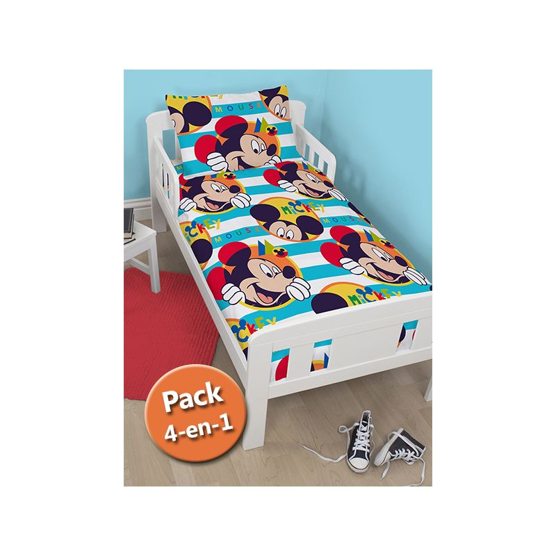 pack 4 en 1 mickey couette b b junior couette oreiller housse de couette et taie. Black Bedroom Furniture Sets. Home Design Ideas