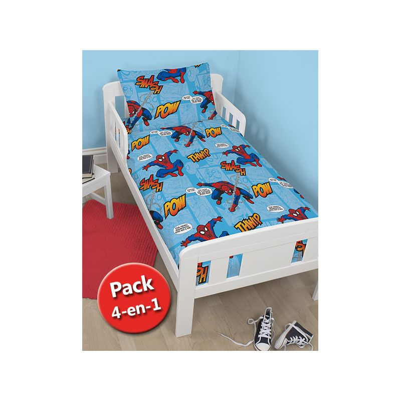 pack 4 en 1 spiderman couette b b junior oreiller housse de couette et taie. Black Bedroom Furniture Sets. Home Design Ideas