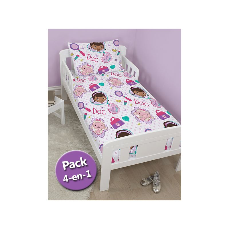 pack 4 en 1 docteur peluche couette b b junior oreiller housse de couette et taie. Black Bedroom Furniture Sets. Home Design Ideas