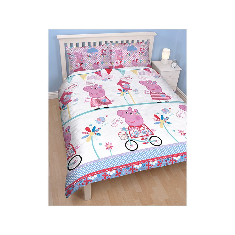 housse de couette double peppa pig pour lit enfant. Black Bedroom Furniture Sets. Home Design Ideas