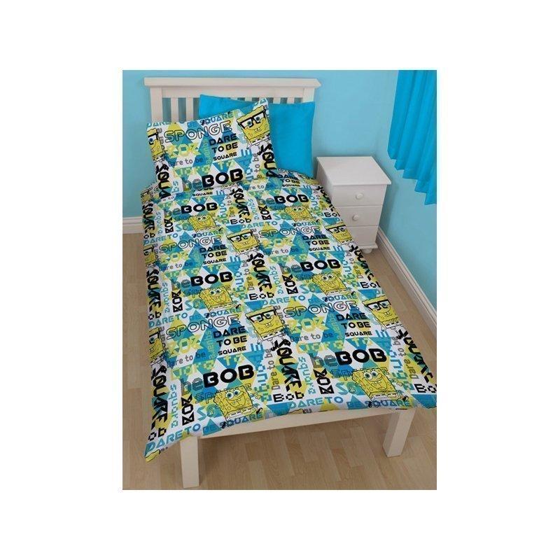 parure de couette bob l 39 ponge happy 1 personne 140x200. Black Bedroom Furniture Sets. Home Design Ideas