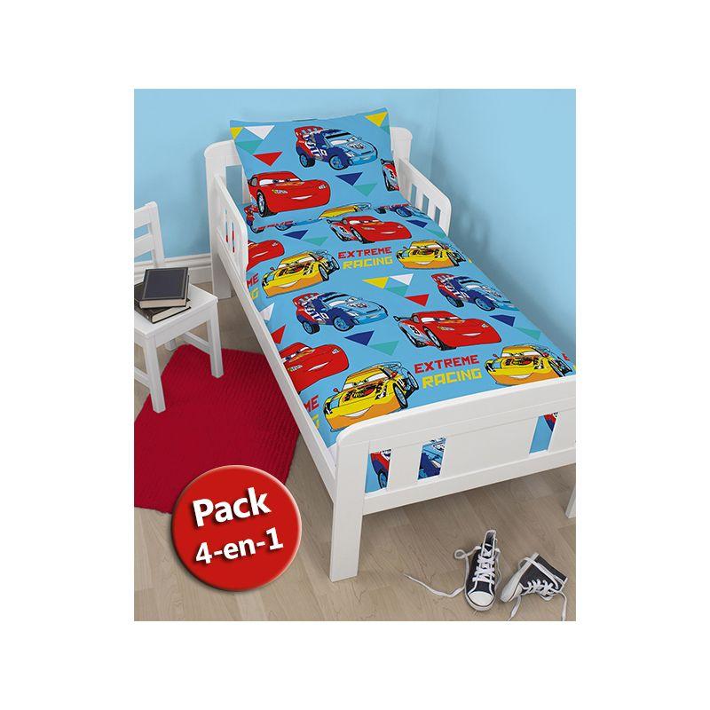 pack literie 4 en 1 disney cars couette b b junior oreiller housse de couette et taie. Black Bedroom Furniture Sets. Home Design Ideas