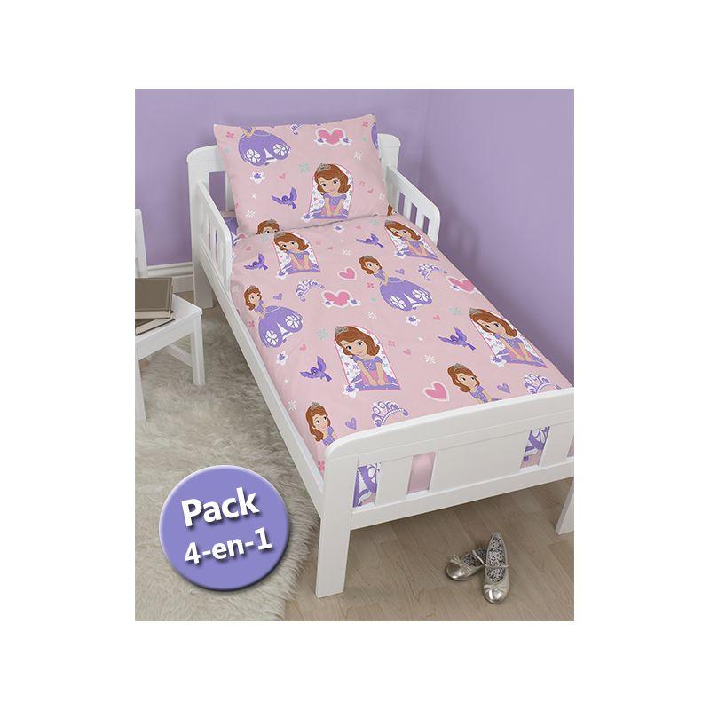 pack literie 4 en 1 princesse sofia couette b b junior oreiller housse de couette et taie. Black Bedroom Furniture Sets. Home Design Ideas