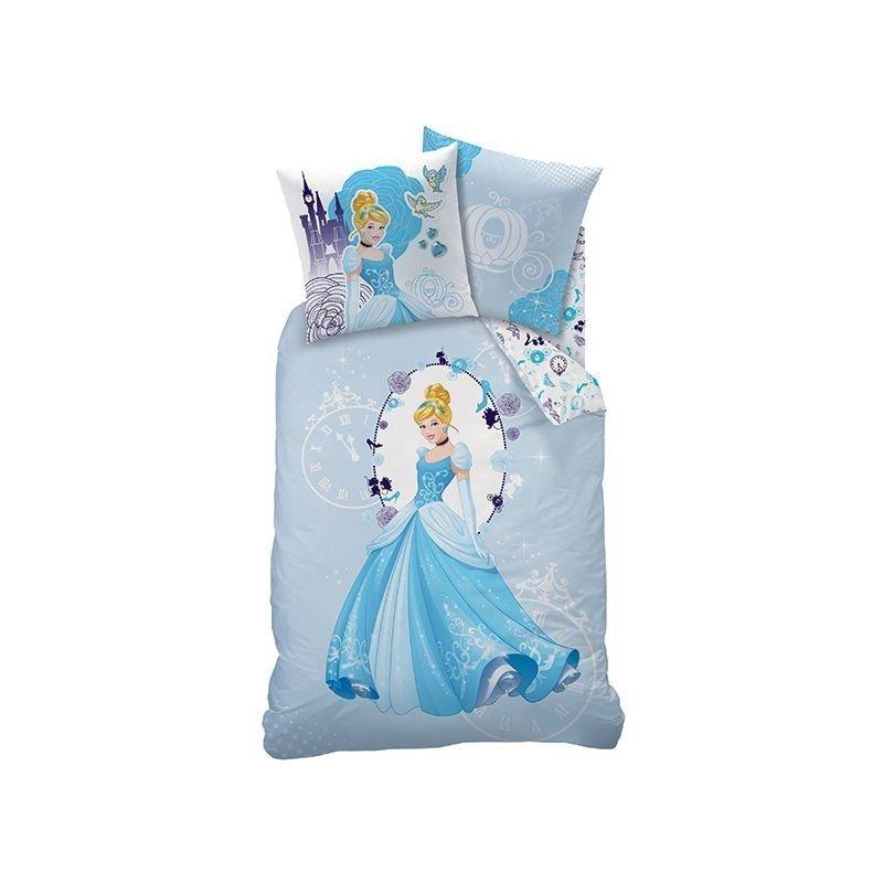 Housse de couette cendrillon bleu pour lit simple for Housse couette princesse