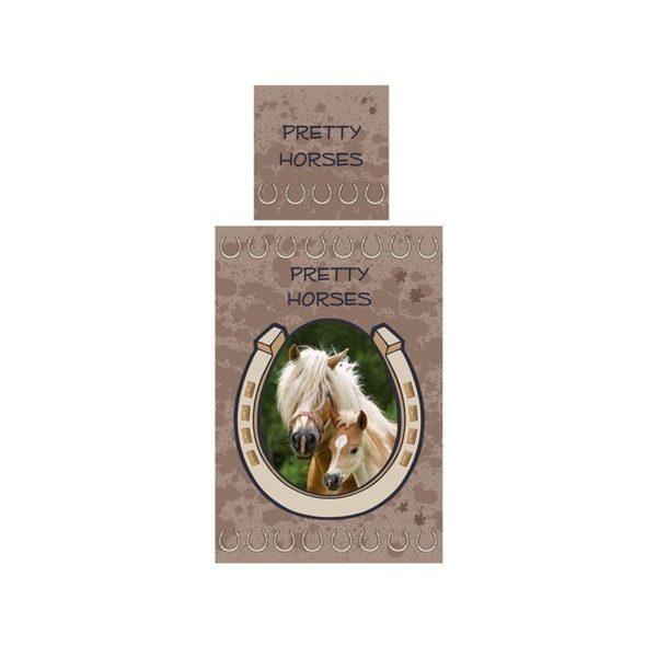 """Parure de lit """"Pretty Horses"""" - Housse de couette + taie"""