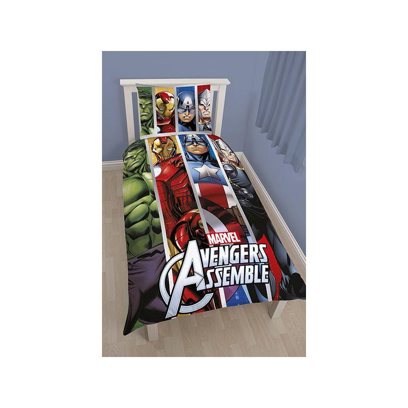 housse de couette bleue marvel comics pour lit simple. Black Bedroom Furniture Sets. Home Design Ideas