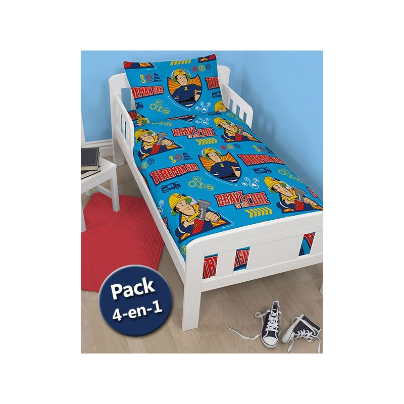 Pack literie 4 en 1 sam le pompier couette b b junior for Literie couette