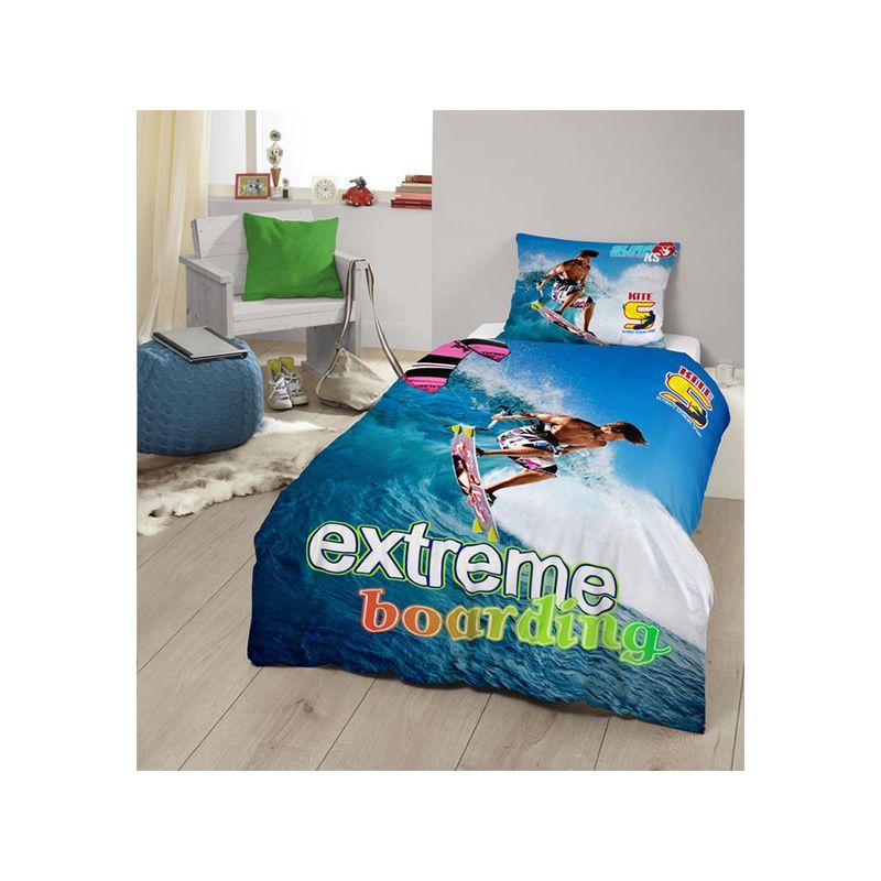 parure de lit surfeur sur vague dans l 39 oc an pour lit simple. Black Bedroom Furniture Sets. Home Design Ideas