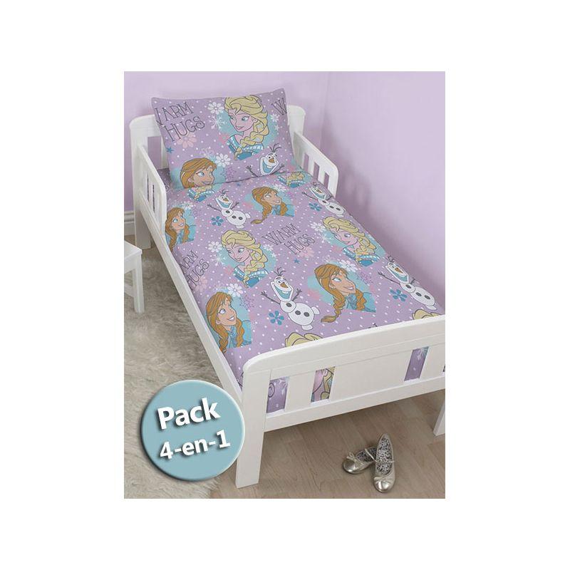 pack 4 en 1 reine des neiges couette b b junior oreiller housse de couette et taie. Black Bedroom Furniture Sets. Home Design Ideas