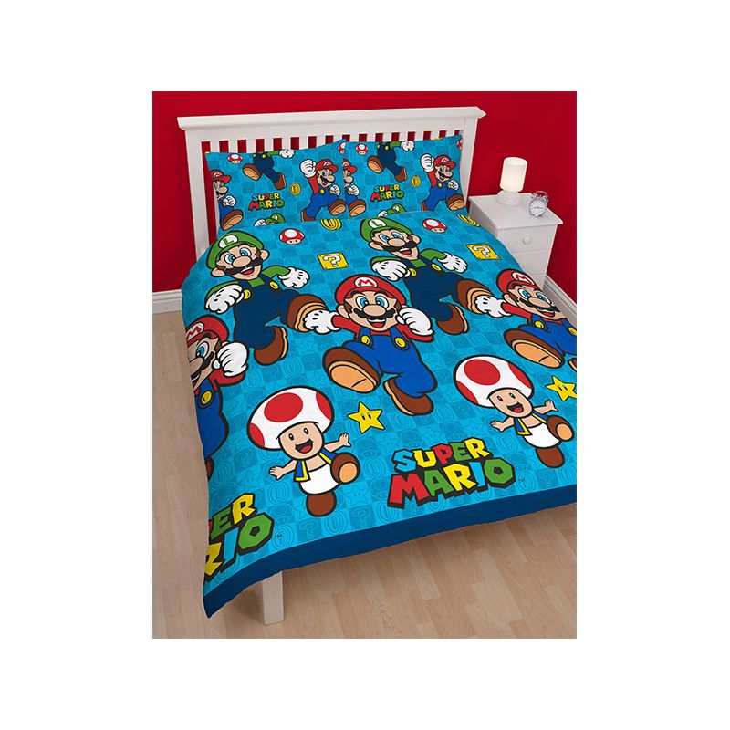 couette super mario pour lit enfant 2 personnes. Black Bedroom Furniture Sets. Home Design Ideas