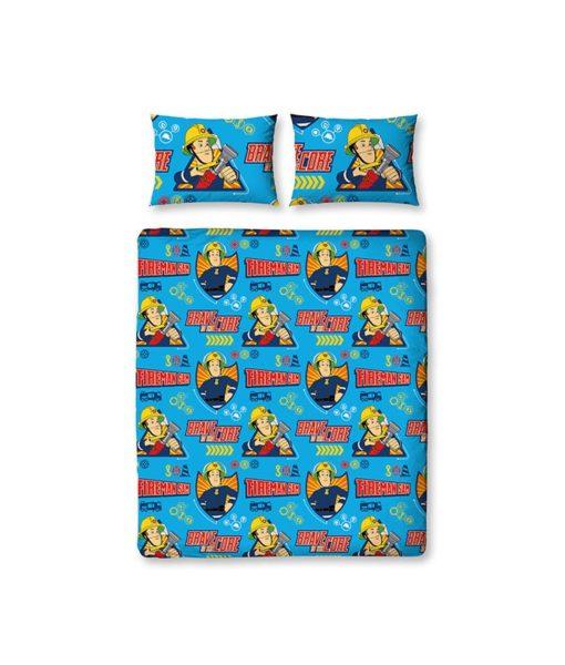 draps de lit double Sam le pompier Brave 200x200cm