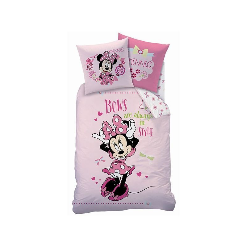 parure de couette minnie bows rose pour fille. Black Bedroom Furniture Sets. Home Design Ideas