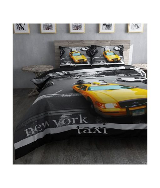 Parure de lit Taxi jaune - Housse de couette + taie