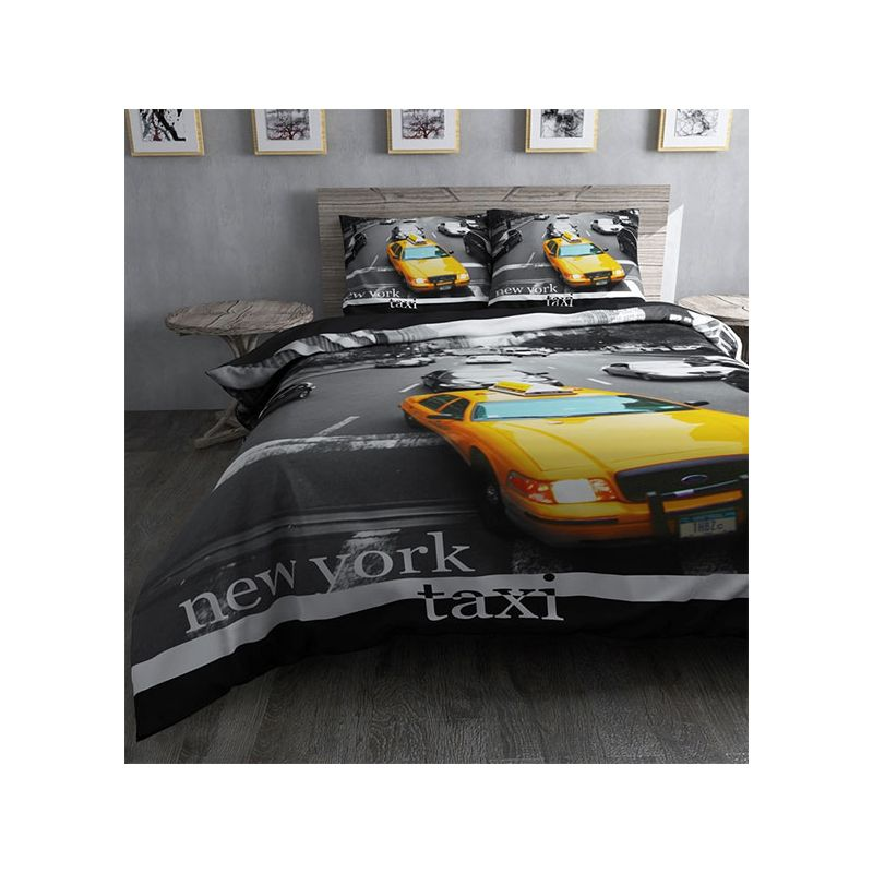 housse de couette taxi jaune new york pour lit simple. Black Bedroom Furniture Sets. Home Design Ideas