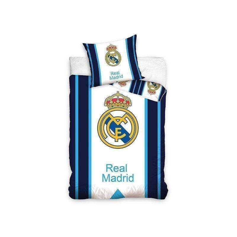 linge de lit real madrid parure de couette real madrid football blanche avec lignes bleues linge de lit real madrid