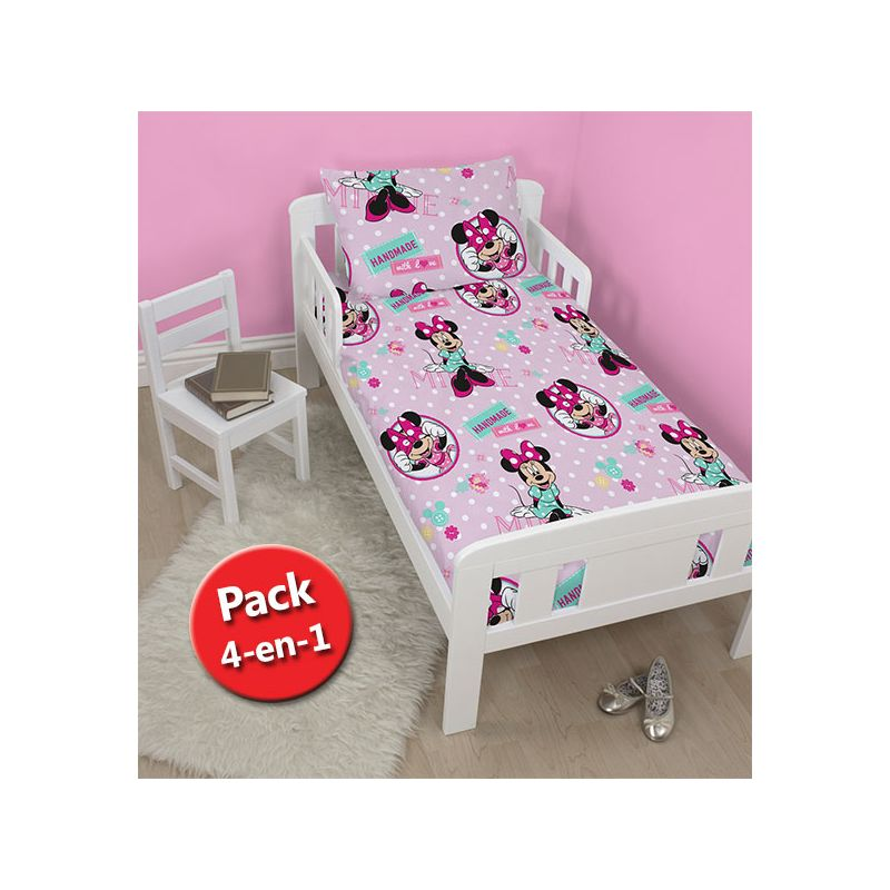 pack 4 en 1 minnie couette b b junior couette oreiller housse de couette et taie. Black Bedroom Furniture Sets. Home Design Ideas