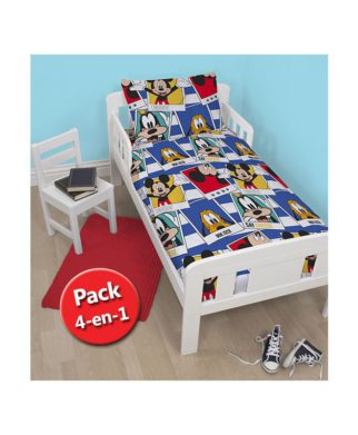 """Pack Mickey """"Polaroïd"""" Couette + Oreiller + Parure de lit junior"""