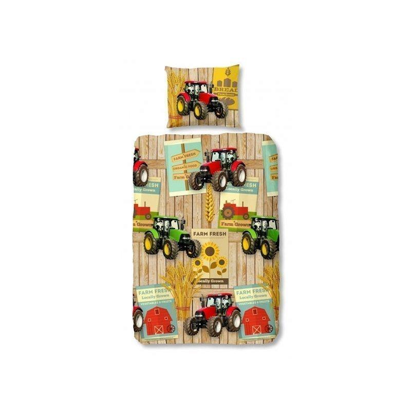 Housse de couette tracteurs pour enfant ferme for Parure de lit garcon