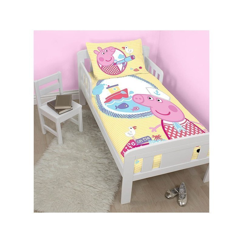 housse de couette junior peppa pig petit lit volutif. Black Bedroom Furniture Sets. Home Design Ideas