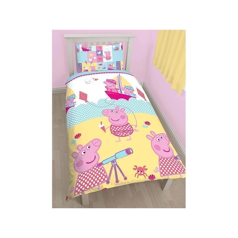housse de couette enfant peppa pig lit simple. Black Bedroom Furniture Sets. Home Design Ideas