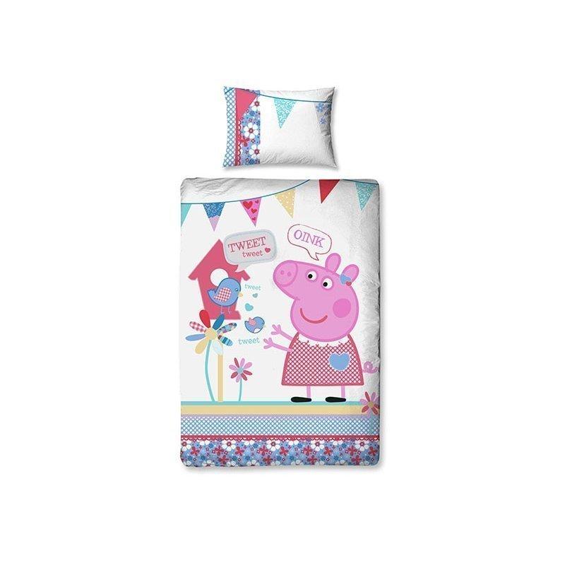 parure de couette peppa pig pour lit simple enfant. Black Bedroom Furniture Sets. Home Design Ideas