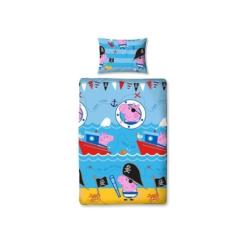 Housse de couette enfant peppa george lit simple for Housse de couette junior