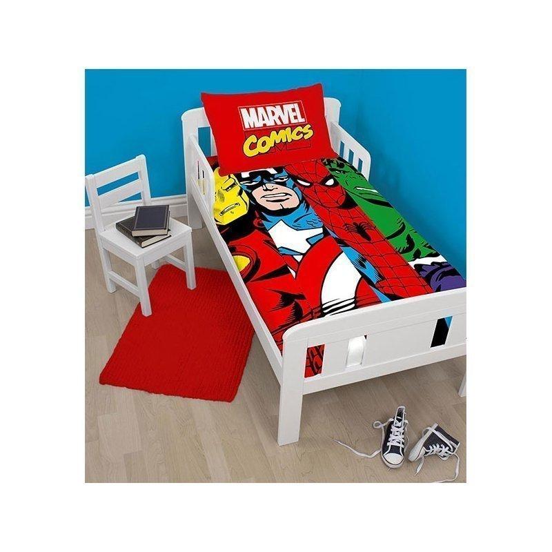 housse de couette junior marvel comics spiderman ironman hulk captain america. Black Bedroom Furniture Sets. Home Design Ideas
