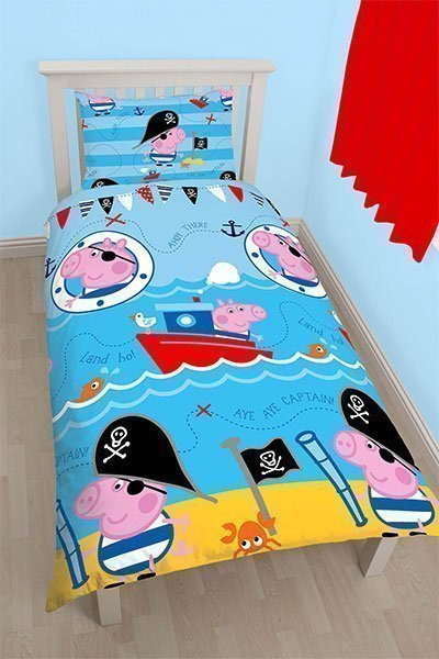 housse de couette enfant peppa george lit simple. Black Bedroom Furniture Sets. Home Design Ideas