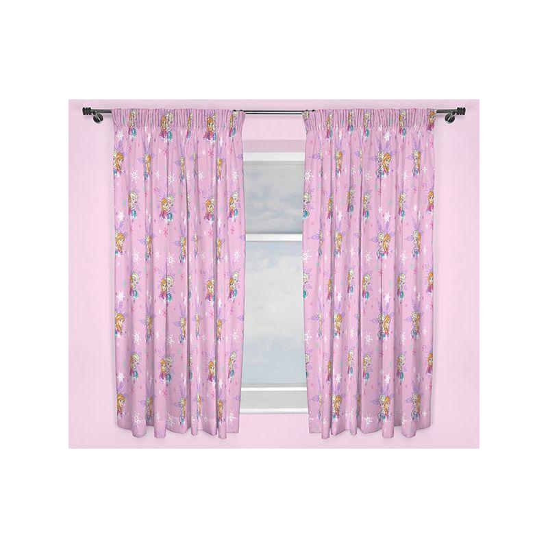 rideaux reine des neiges elsa et anna rose pour chambre enfant. Black Bedroom Furniture Sets. Home Design Ideas