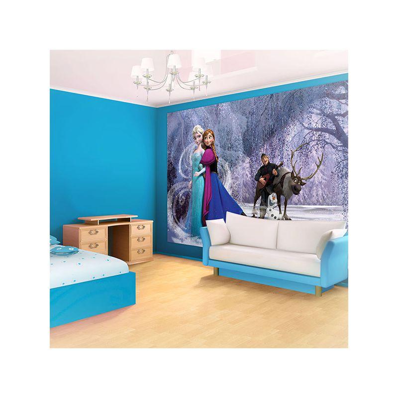 D cor mural reine des neiges pour chambre fille anna et elsa - Papier peint fresque murale ...
