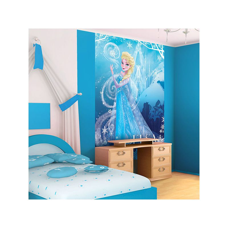 fresque murale reine des neiges elsa pour mur chambre fille. Black Bedroom Furniture Sets. Home Design Ideas