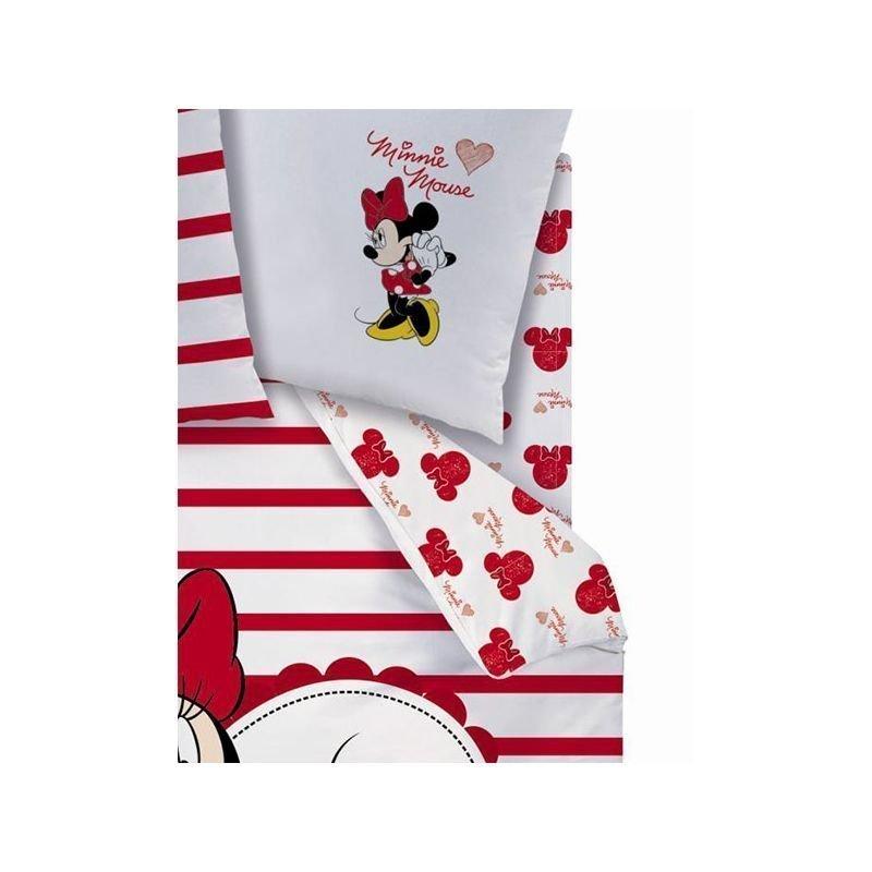 Drap housse minnie mouse coeur 90x190 1 personne for Drap housse 1 personne