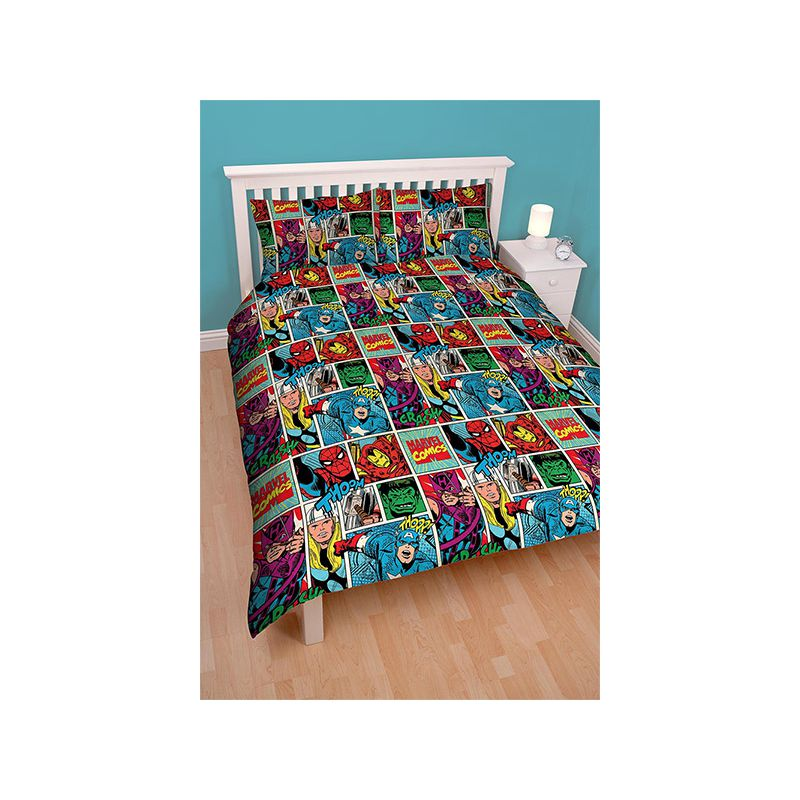 Housse de couette double marvel comics strike 200x200 for Parure lit double