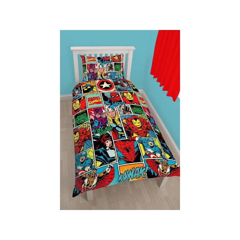 housse couette marvel comics strike pour enfant. Black Bedroom Furniture Sets. Home Design Ideas
