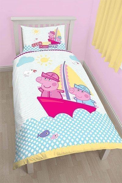 draps de lit peppa pig pour lit simple enfant. Black Bedroom Furniture Sets. Home Design Ideas