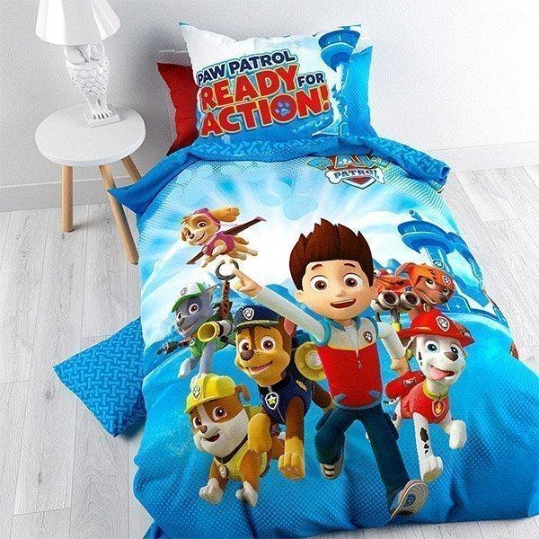 parure de lit pat patrouille pour enfant housse de couette taie. Black Bedroom Furniture Sets. Home Design Ideas