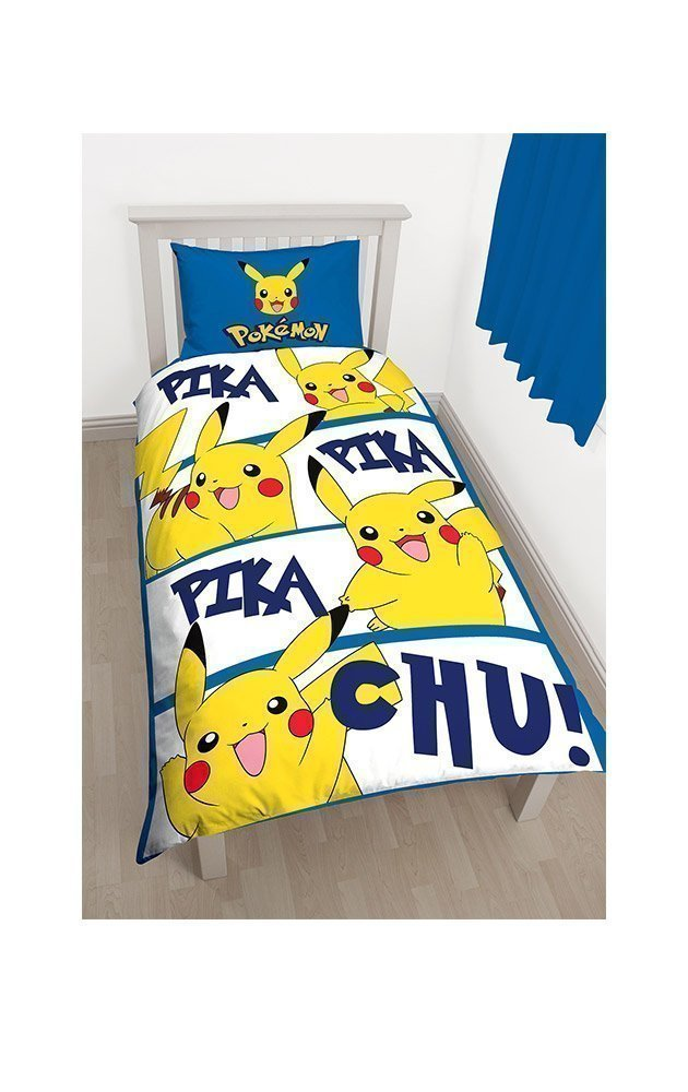 housse de couette pokemon pikachu pour enfant lit 1 personne. Black Bedroom Furniture Sets. Home Design Ideas