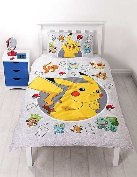 housse de couette pokemon pour enfant lit simple 1 personne. Black Bedroom Furniture Sets. Home Design Ideas