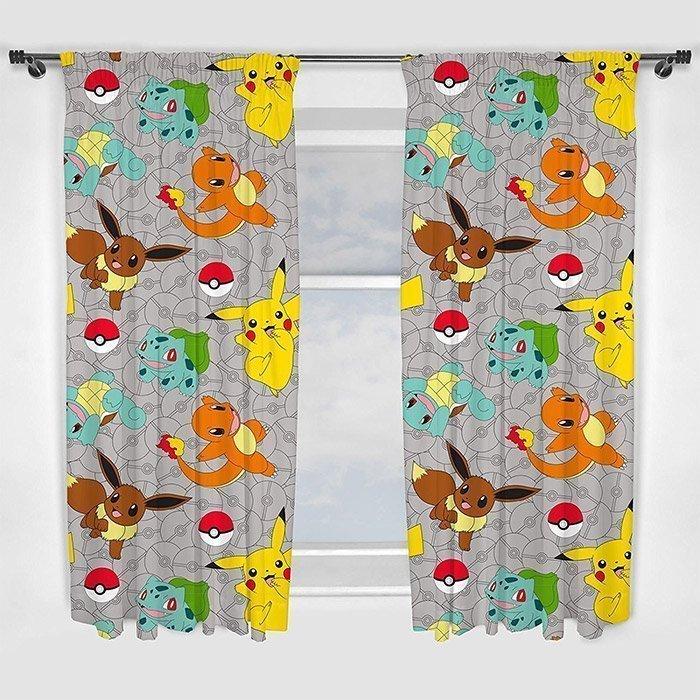 rideaux pokemon pour fen tre de chambre d 39 enfant 168x183 cm. Black Bedroom Furniture Sets. Home Design Ideas