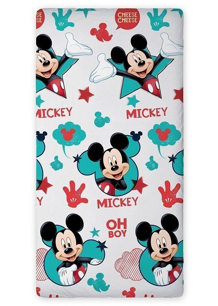 drap housse mickey mouse pour lit 90x190 coton. Black Bedroom Furniture Sets. Home Design Ideas