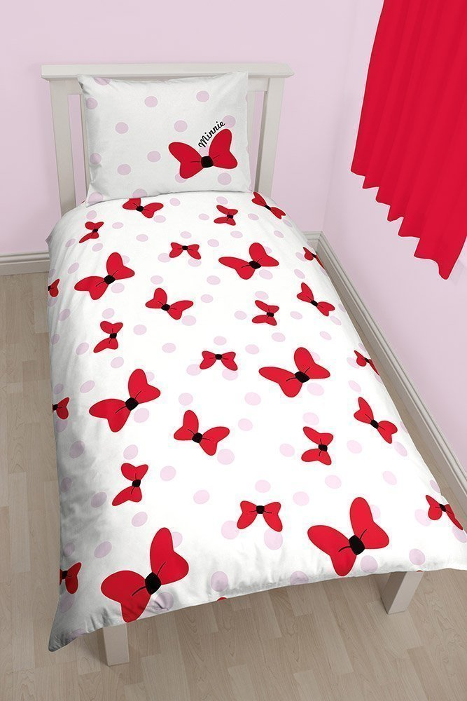 linge de lit minnie mickey 140x200 coton pour chambre enfant fille. Black Bedroom Furniture Sets. Home Design Ideas