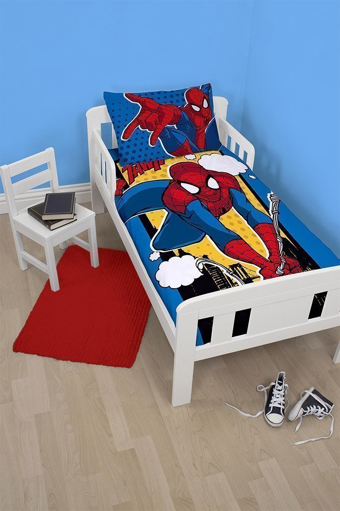 housse couette spiderman junior lit volutif 120x150. Black Bedroom Furniture Sets. Home Design Ideas