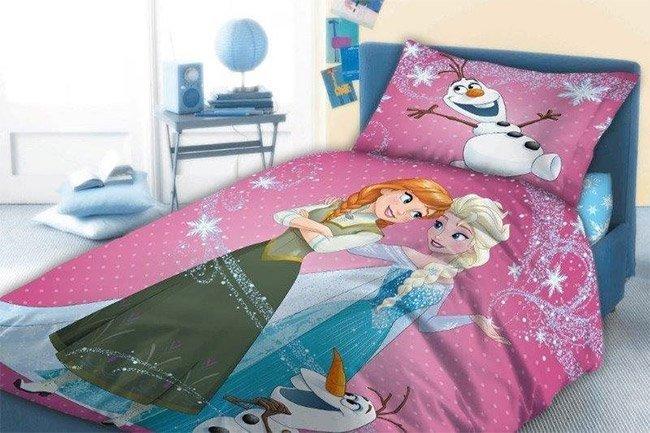 Parure De Lit Reines Des Neiges Elsa, Anna Et Olaf 100% Coton